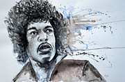 Concerts Mixed Media Framed Prints - Jimi Hendrix  Framed Print by Ismeta Gruenwald