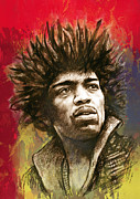 Limited Mixed Media Posters - Jimi Hendrix stylised pop art drawing potrait poster Poster by Kim Wang