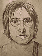 The Beatles John Lennon Drawings - John Lennon by Mary McCusker