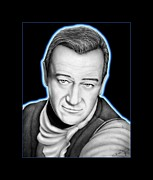 Illustration Drawings - John Wayne  by Charles Champin
