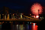 Roberto Clemente Bridge Posters - July 4th Fireworks in Pittsburgh Poster by Jetson Nguyen