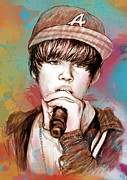 Pop Singer Framed Prints - Justin Bieber - stylised drawing art poster Framed Print by Kim Wang