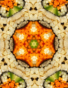 Sushi Posters - Kaleidoscope Vegetable Sushi Poster by Amy Cicconi