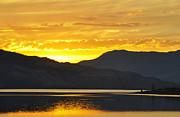 Sunset Reflecting In Water Posters - Kamloops Lake BC Poster by Wendy Elliott