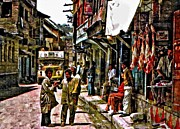 City Life Digital Art Prints - Kathmandu  Print by Steve Harrington