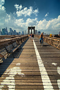 Walking Framed Prints - Lanes for pedestrian and bicycle traffic on the Brooklyn Bridge Framed Print by Amy Cicconi