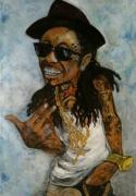 Hip Painting Framed Prints - Lil Wayne  Framed Print by Christopher  Chouinard