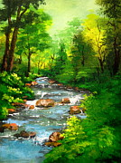 Serenity  Oregon Paintings - Lithia  Park - by Shasta Eone