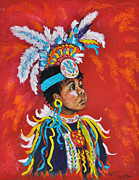 Indian Pastels Prints - Little Big Man Print by Judy Sprague