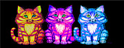 Kittens Digital Art Metal Prints - 3 Little Colorful Kittens Metal Print by Nick Gustafson
