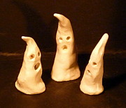 Handmade In Usa Ceramics - 3 little Ghosts  by Debbie Limoli
