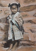 Hopi Mixed Media Prints - Little Hopi Girl Print by Terri Ana Stokes