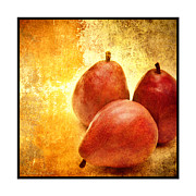 Pear Art Mixed Media Prints - 3 Little Red Pears Are We 3 Print by Andee Photography