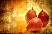 Fruit Still Life Mixed Media Posters - 3 Little Red Pears Are We Poster by Andee Photography