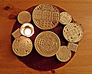Christian Orthodox Prints - Liturgical Bread Stamps Print by Sarah Loft