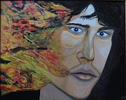 Surrealistic Paintings - Lizard king light my fire. Jim Morrison. by Ken Zabel