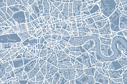 London City Map Framed Prints - London England Street Map Framed Print by Michael Tompsett