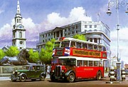 Streetscene Paintings - London Transport STL by Mike  Jeffries