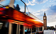 Famous Art - London UK Red bus in motion and Big Ben by Michal Bednarek