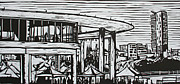 Linocut Linoluem Drawings Framed Prints - Long Center Framed Print by William Cauthern