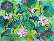 Lotus Bud Paintings - Lotus Pods by Janet Immordino