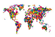 Travel  Digital Art Prints - Love Hearts Map of the World Map Print by Michael Tompsett
