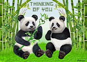 Business Greeting Cards Art - Loving Pandas by Glenn Holbrook