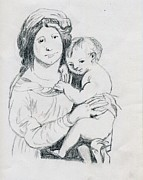 Christ Child Drawings Posters - Madonna And Child Poster by Michael Snincsak