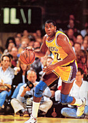 Lakers Prints - Magic Johnson Poster Print by Sanely Great