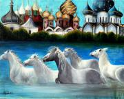 White Russian Painting Posters - Magical Horses Poster by Pilar  Martinez-Byrne