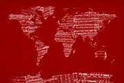 World Map Print Art - Map of the World Map from Old Sheet Music by Michael Tompsett