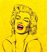 Movie Star Mixed Media - Marilyn in Yellow by Joseph Sonday