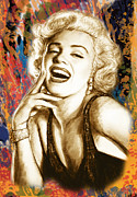 Early Mixed Media - Marilyn Monroe morden art drawing poster by Kim Wang