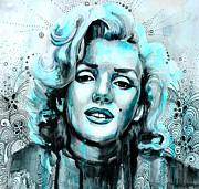 Monroe Mixed Media Framed Prints - Marilyn Monroe Framed Print by Slaveika Aladjova