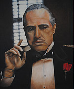 The Godfather Painting Posters - Marlon Brando The Godfather Poster by David Dunne