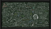 Theory Pastels Prints - Maths Formula On Chalkboard Print by Setsiri Silapasuwanchai