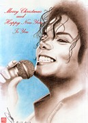 King Of Pop Drawings Prints - Michael Jackson Christmas Card Print by Eliza Lo