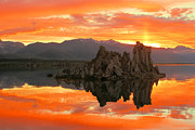 Mono Lake Prints - Mono Lake Fiery Sunset Print by Adam Jewell