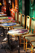 Empty Chairs Prints - Montmartre Cafe Print by Brian Jannsen