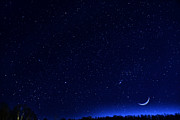 Stars And Planets Photos - Moon and Stars by Thomas R Fletcher
