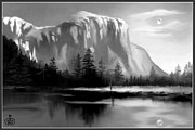 Yosemite National Park Digital Art - Moonlit Yosemite Lake by Ronald Chambers