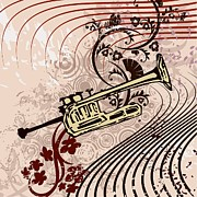 Music Drawings Framed Prints - Musical Backgrounds with instraments Framed Print by ClipartDesign