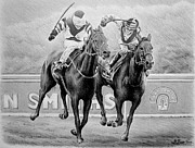 Thoroughbred Drawings - Nearing the finish by Andrew Read