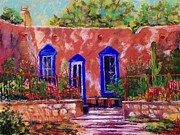 Adobe Building Pastels - New Mexico Garden by Bruce Schrader
