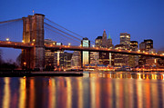 Brooklyn Bridge Posters - New York Skyline Poster by Brian Jannsen
