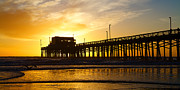 Newport Posters - Newport Beach California Pier at Sunset in the Golden Silhouette Poster by ELITE IMAGE photography By Chad McDermott