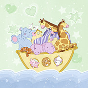 Noah Drawings Prints - Noahs Ark Print by Amalou Studio