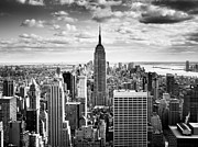 Monochrome Framed Prints - NYC Downtown Framed Print by Nina Papiorek