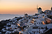 View Paintings - Oia town during sunset by George Atsametakis