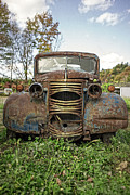 Rusty Old Cars Posters - Old Junker Car Poster by Edward Fielding